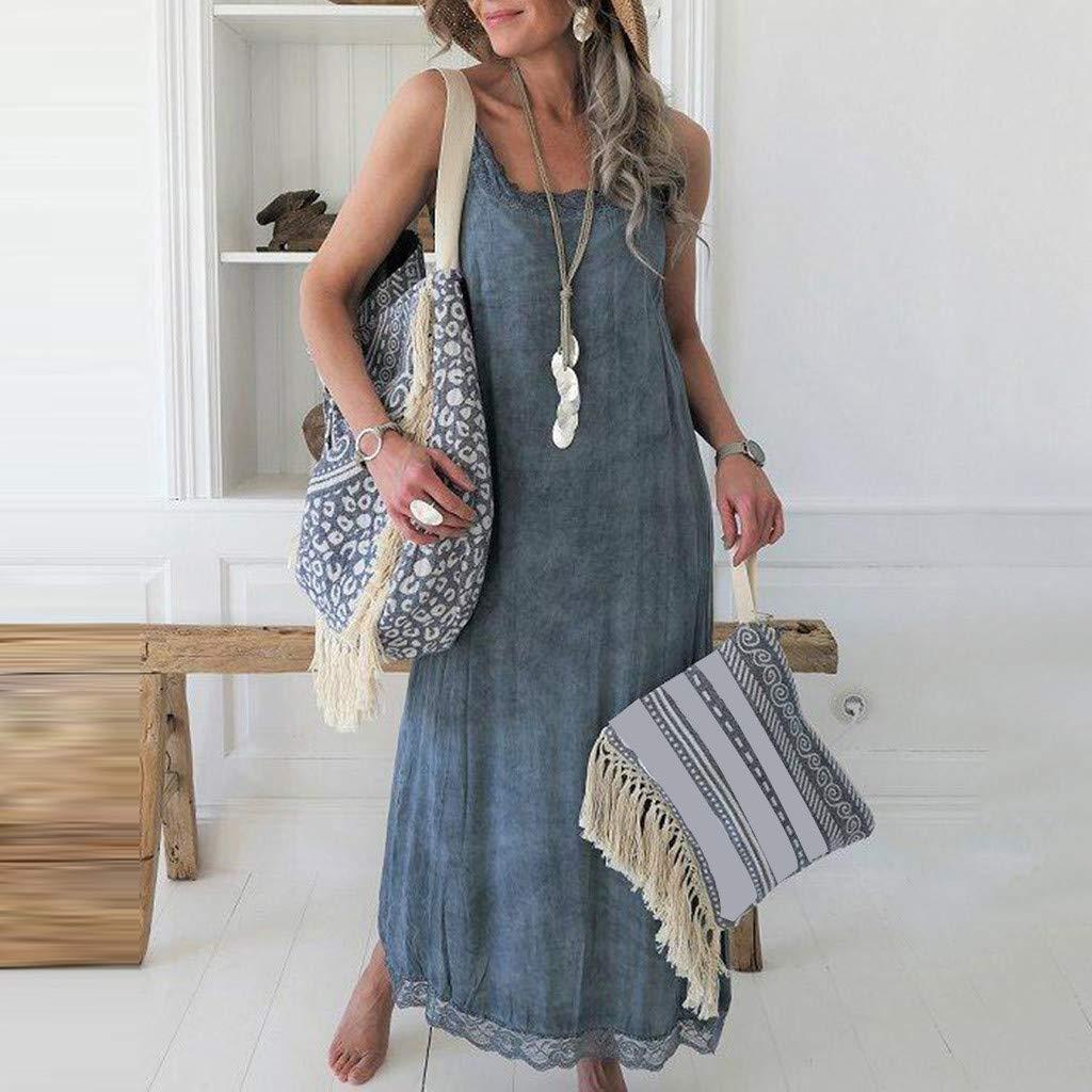 Women Summer Casual Solid Sleeveless Dress Lace Splice Strap Long Dress