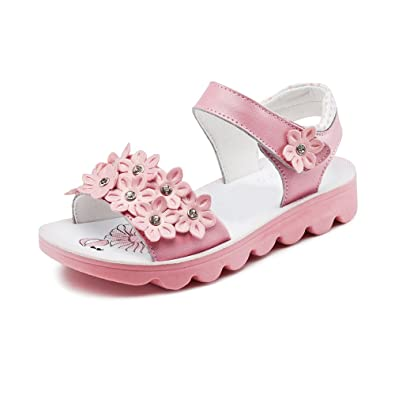 c99a8dc4047dc Girls' Candy Color Open Toe Strap Closure Flower Sandals Pink Tag 37 - 3.5  UK