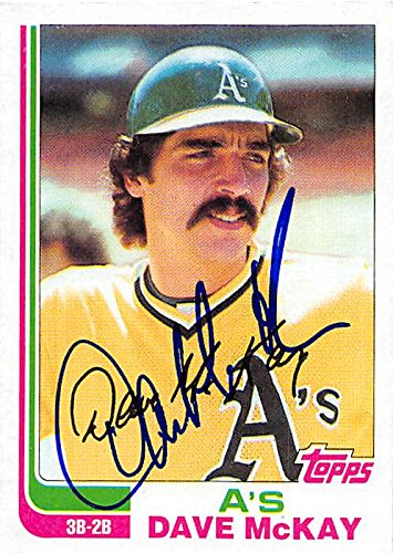 Dave McKay autographed baseball card (Oakland Athletics) 1982 Topps #534