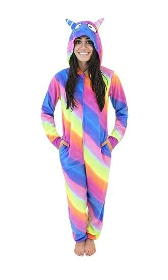Micro Fleece Women's Onesie Pajamas with Creature Hoods Silly Monster, Rainbow Stripe, Medium