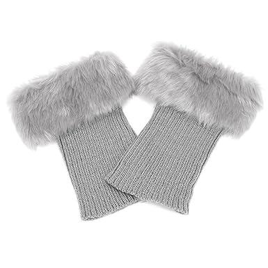 1 paar Frauen die wärmer häkeln Bein Socken weichen Webpelz Stiefel ...