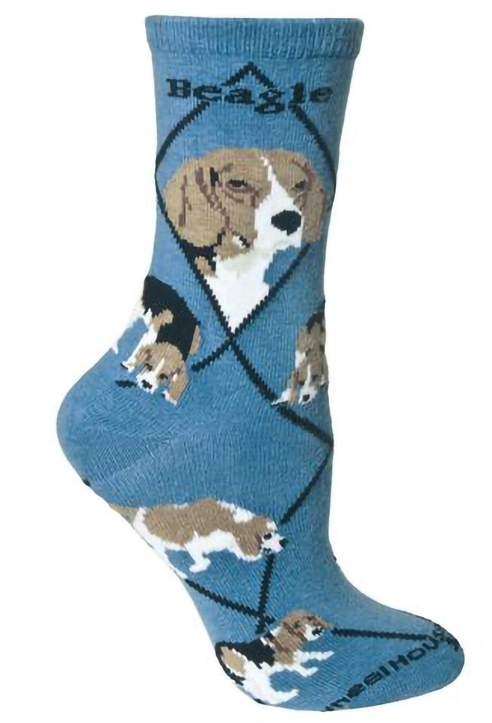 Wheelhouse Beagle on Blue Lightweight Stretch Cotton Crew Sock Adult Unisex Size 10-13