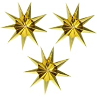 EOPER 3 Pieces 9 Pointed Paper Star Lanterns 12 Inch Hanging Lampshade for LED Light Wedding Birthday Party Decor, Gold