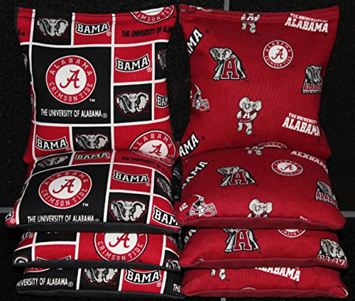 8 CORNHOLE BEANBAGS made w University of ALABAMA CRIMSON TIDE Fabric by BackYardGamesUSA