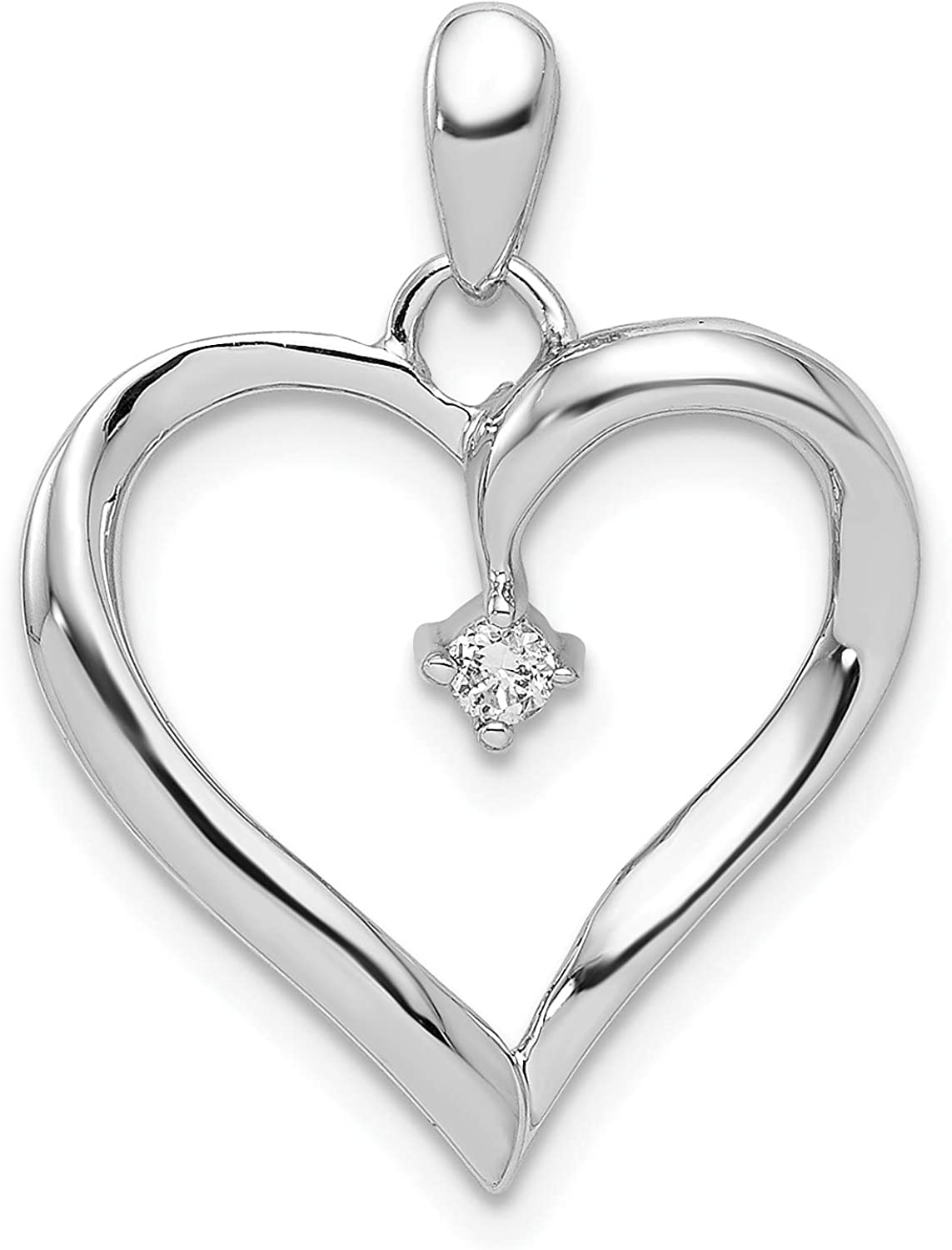 0.05 cttw, I1-I3 Clarity, I-J Color Diamond Heart Pendant in 925 Sterling Silver 22x17mm