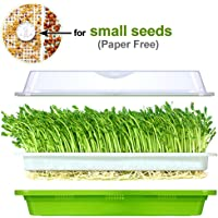 Seed Sprouter Tray Soil-Free BPA Free PP Healthy Alfalfa Wheatgrass Grower 13x10.24x3.35 in with Cover and 2 Size Hole
