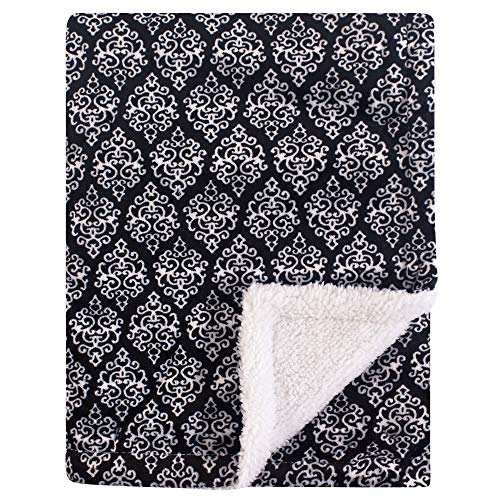 - Yoga Sprout Mink Blanket with Sherpa Backing, Damask, One Size