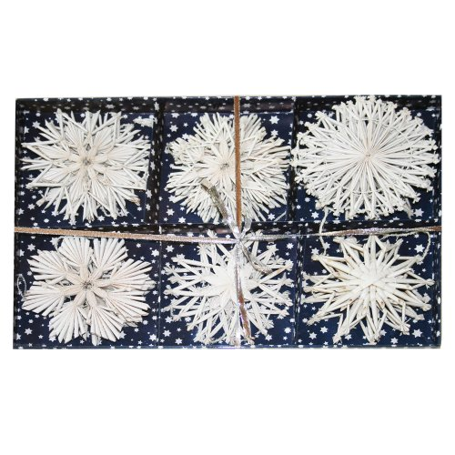 Straw Star Ornaments White Glitter product image