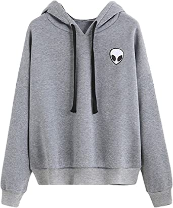 Tomwell Femme Automne Hiver Manches Longues Alien Pull Sweat à Capuche Hoodie Hooded Sweatshirt Tops