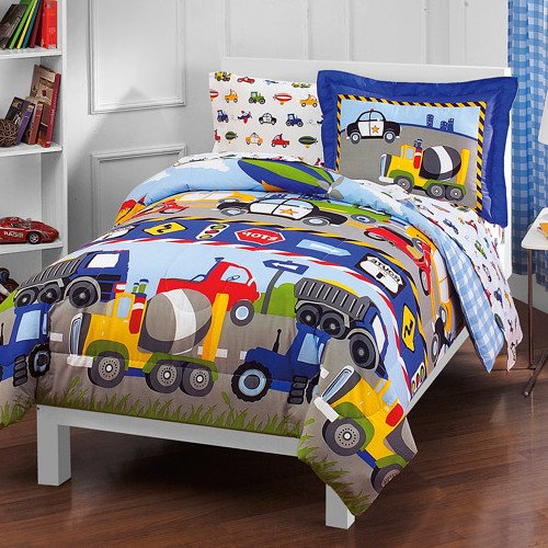 5 Piece Boys Blue Green Factory Trucks Comforter Twin Set, Yellow Red Road Work Pattern Cement Dump Trucks Police Car Scooters Airplanes Road Signs Zeppelin Design Kids Bedding Cozy Teen Themed Cotton