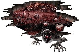 KSNOW 3D Halloween Wall Floor Stickers Decorations Halloween Scary Pumpkin Skull Floor Wall Decal Sticker Black