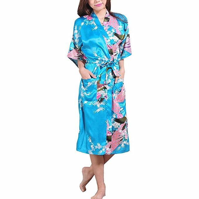 FY Mujeres Señoras Kimono Robe Albornoz Larga Bata de Baño Bathrobe Vestido Seda De Imitación Ropa