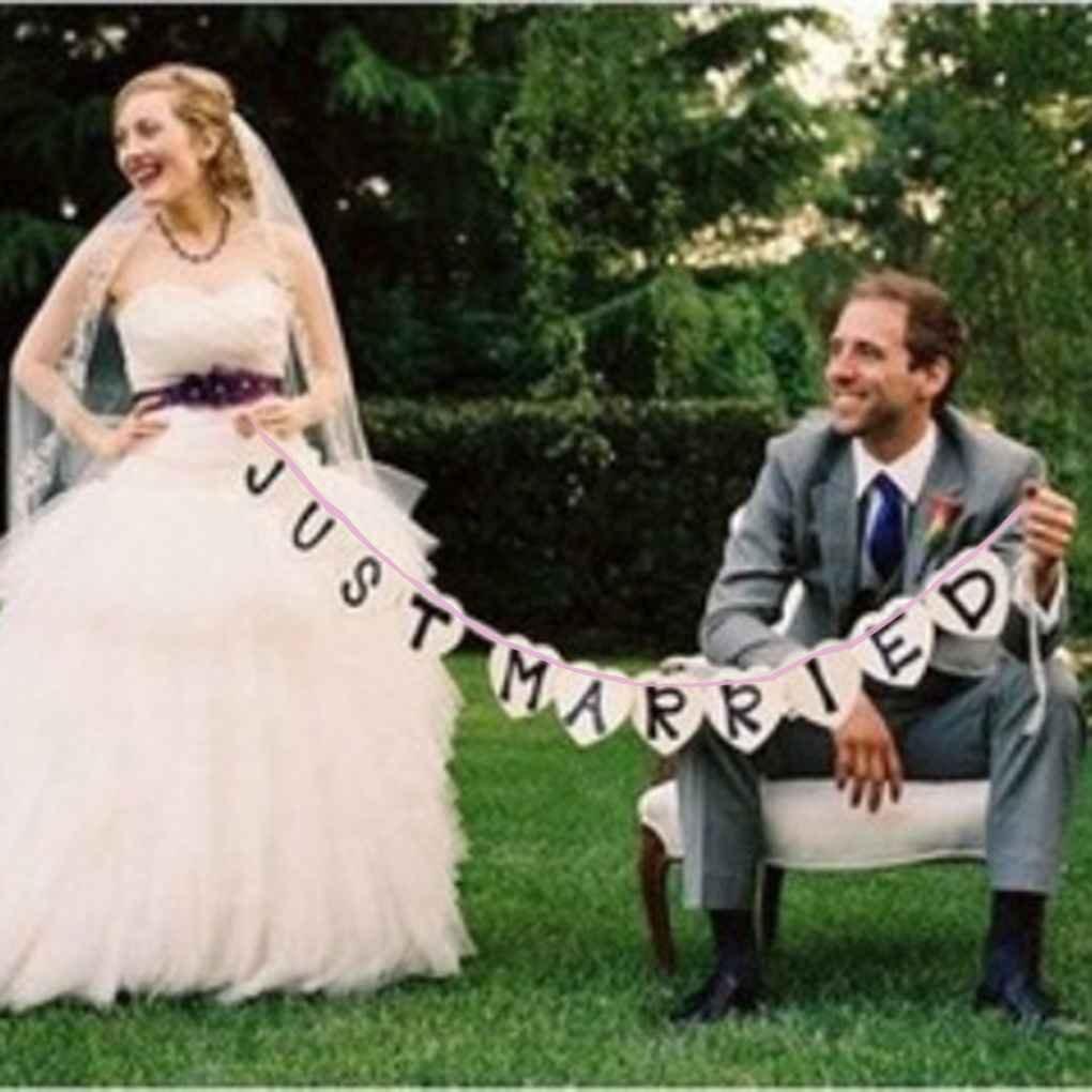 Morza Just Married Mariage Voiture Cling Decal Sticker fen/être Banni/ère D/écoration