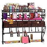 Wildon Home Lynbar Wall Mount Craft Large Storage Rack with Baskets, Medium Black