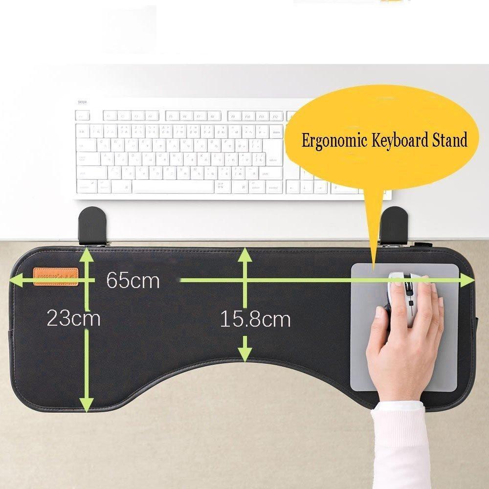 Ergonomic Desk Extender Clamp On Keyboard Tray Under Desk Adjustable Mouse and Keyboard Tilted Tray Table Mount Armrest Shelf Stand Slide Computer Elbow Arm Support by FUZADEL