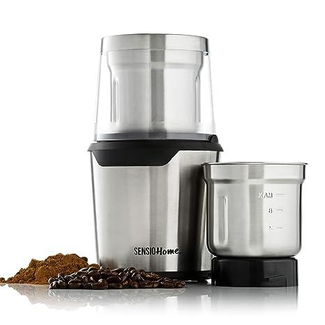 Sensio Home Coffee Grinder | Electric Coffee Bean, Herb & Spice Grinder Machine | Two