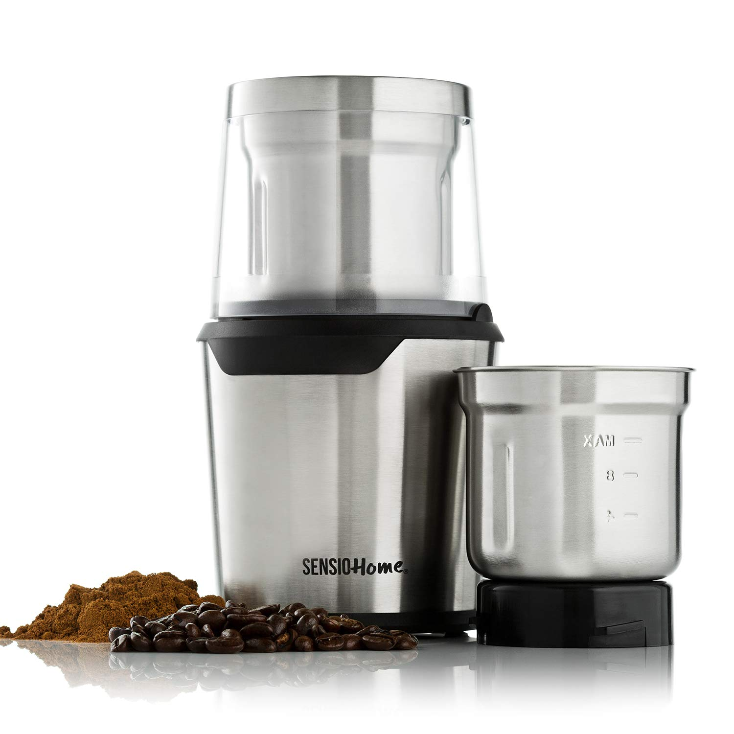 Sensio Home Coffee Grinder | Electric Coffee Bean, Herb & Spice Grinder Machine | Two Detachable 2 8 Ounce Capacity Cups for Wet and Dry Food | 200 Watts
