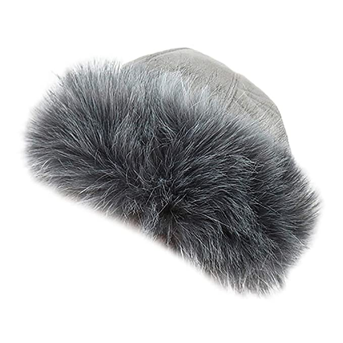 08fe5b375df Doingshop Faux Fake Fur Hat with Fleece Russian Cossack Winter Ladies  Women(Gray)  Amazon.co.uk  Clothing