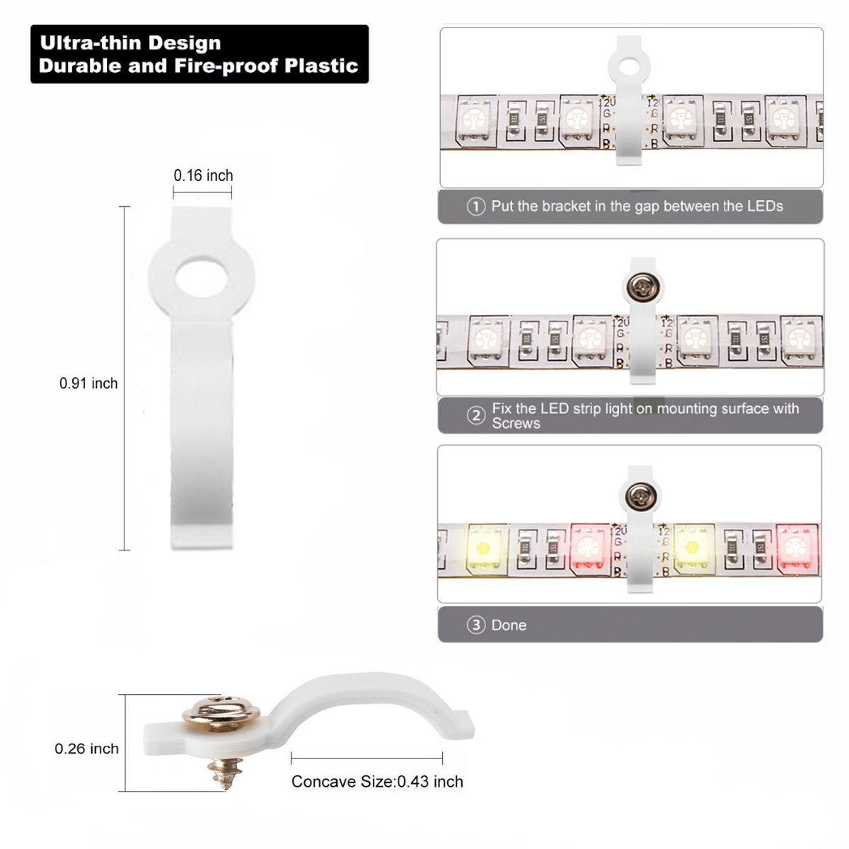5050 4Pin LED Strip Connector Kit - 10mm RGB LED Connector Kit includes 32.8FT RGB Extension Cable, 10x LED Strip Jumper, 10x L Shape Connectors, 10x Gapless Connectors, 20x LED Strip Clips by iCreating (Image #7)