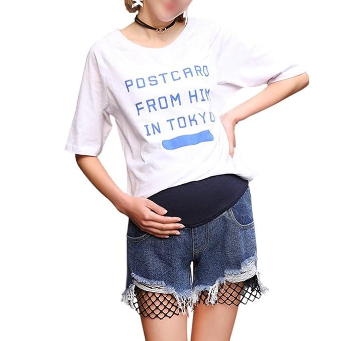 b99b01ef7 Hzjundasi Elásticos Pantalón Pantalones Vaqueros Apoyo Lumbar Pants Jeans  para Mujeres Embarazadas Cinturón de Embarazo Azul  Amazon.es  Ropa y  accesorios