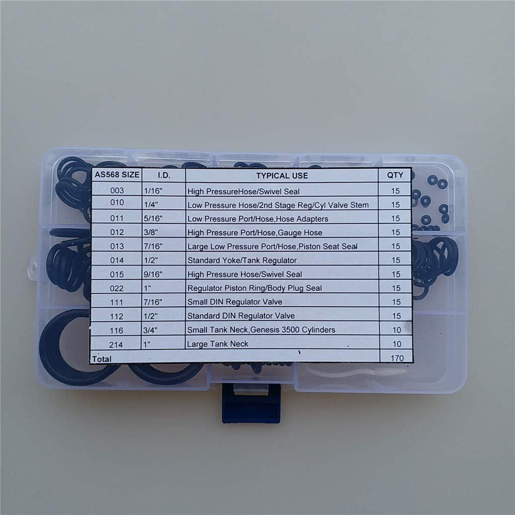 170 pi/èces r/éparation de rechange tuyau de plong/ée 70 Duro 12 tailles r/égulateur de tuyau scell/é EPRHAY Kit de joints toriques pour plong/ée sous-marine avec kit de crochetage