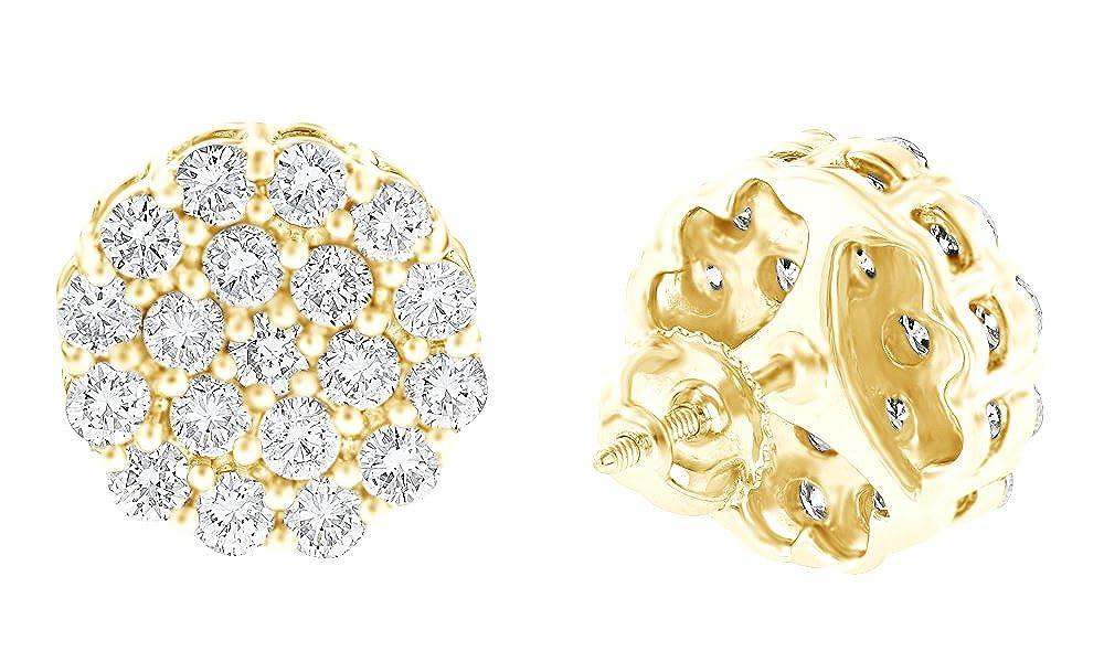 14 Karat (585) GelbGold Rundschliff weiß natürlicher Diamant Cluster Ohrstecker in 14 ct 585 Weiß Gold massiv (4.02) cttw
