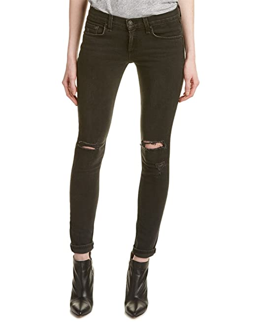 ed49a097eb45 Rag & Bone Jean Women's Shredded Slim Fit Skinny Jeans Rock with Holes  Black 28: Amazon.ca: Clothing & Accessories
