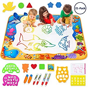 61O77fUGcyL. SS300  - Toyk Aqua Magic Mat - Kids Painting Writing Doodle Board Toy - Color Doodle Drawing Mat Bring Pens Educational Toys for…