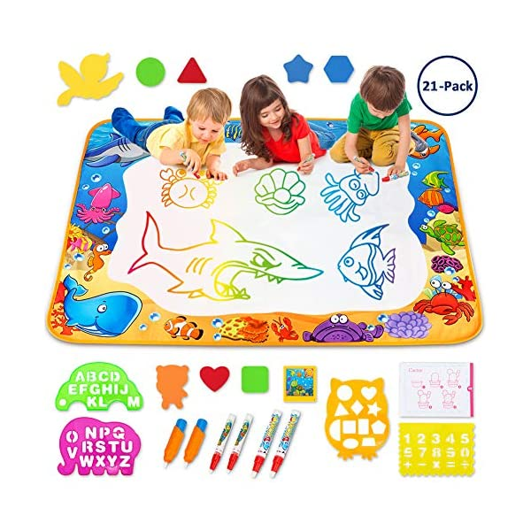 61O77fUGcyL. SS600  - Toyk Aqua Magic Mat - Kids Painting Writing Doodle Board Toy - Color Doodle Drawing Mat Bring Pens Educational Toys for…