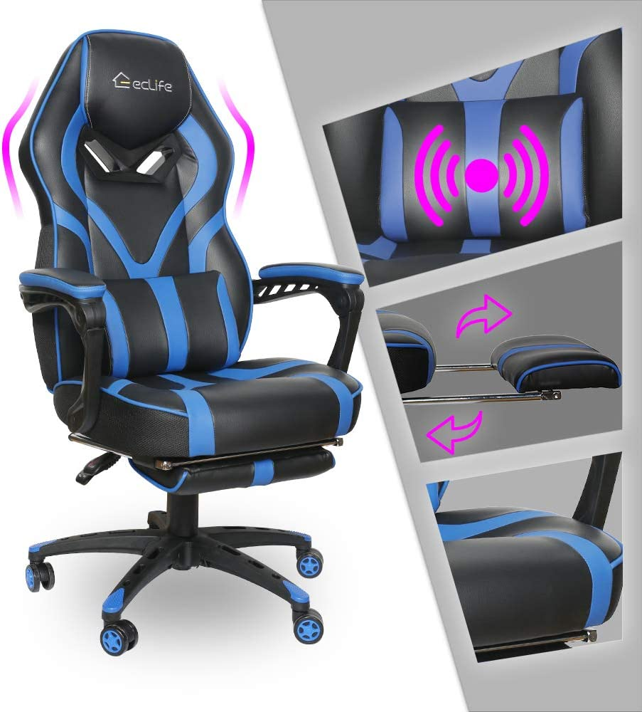 Video Gaming Chair Racing Recliner - Ergonomic Adjustable Padded Armrest Swivel High Back Footrest with Headrest Lumbar Support Leather Breathable Bucket Cushion Home Computer BIFMA (Blue Massage)