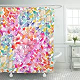 Pink and Purple Polka Dot Shower Curtain Breezat Shower Curtain Green Polka Pattern with Bright Pink Turquoise Blue and Yellow Dots Stains in Watercolor Purple Abstract Waterproof Polyester Fabric 60 x 72 Inches Set with Hooks