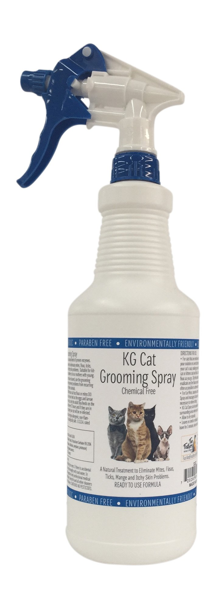 Fur and Feathers KG Cat Grooming Spray - 32oz Ready to Use Formula, for fleas, ticks, mites and itchy skin problems, Chemical free, pesticide free.