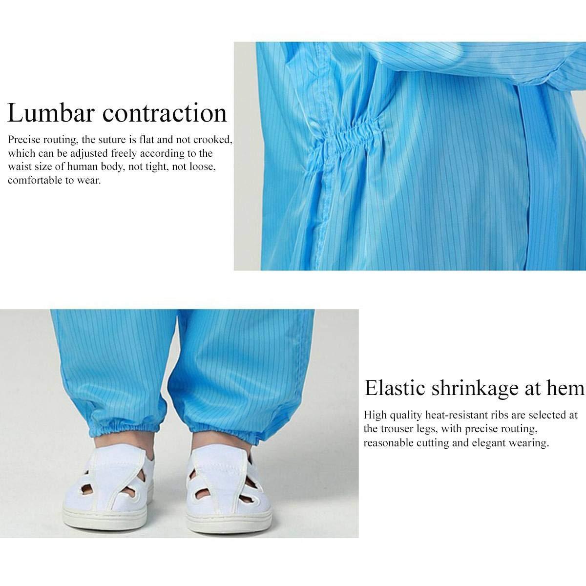 barra azul L, XL Mono desechable tipo SMS de protecci/ón de trabajo con capucha antiest/ático antibacteriano