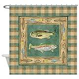 Bass Fishing Shower Curtain CafePress Fishing Cabin Lake Lodge Plaid Deco Decorative Fabric Shower Curtain (69