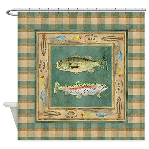 CafePress Fishing Cabin Lake Lodge Plaid Deco Decorative Fabric Shower Curtain - Decor Lodge Fishing
