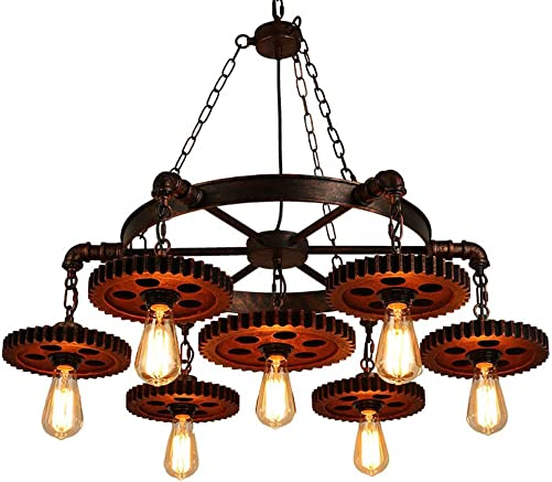 Surpars House 7-Heads Rustic Chandelier Industrial Pendant Light