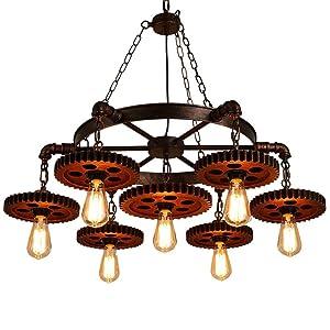 Surpars House 7-Heads Rustic Chandelier Industrial Pendant Light for Restaurant,Bar,Coffee Room