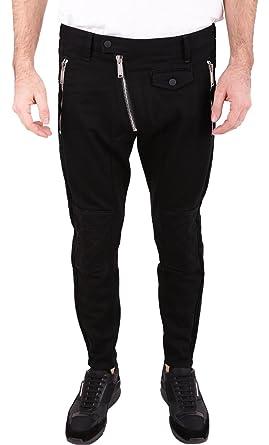Amazon.com  DSQUARED2 Men s Leather Biker Fit Jeans Black 50  Clothing 37b8b3674145