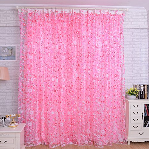 Fullkang Floral Sheer Voile Curtain Drape Panel Tulle Valances (Pink)