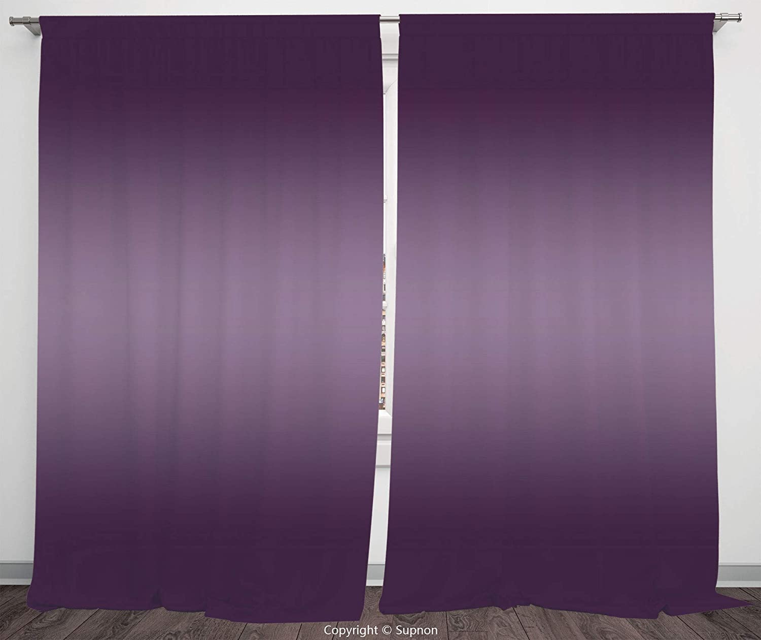 Rod Pocket Curtain Panel Polyester Translucent Curtains for Bedroom Living Room Dorm Kitchen Cafe/2 Curtain Panels/108 x 90 Inch/Ombre,Hollywood Theater Inspired Digital Purple Colored Modern Design R