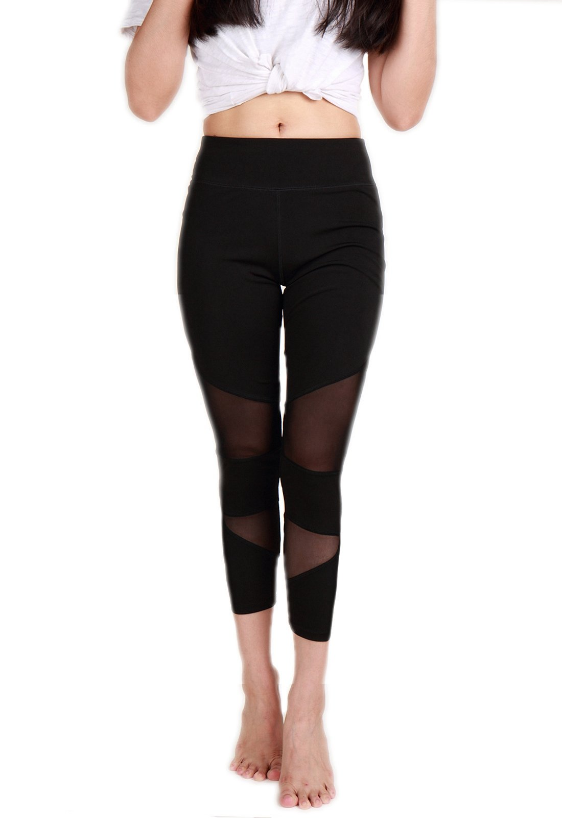 CFR Sexy Mesh Yoga Pants Women's Fitness Capri Sport Leggings Tights For Workout Activities (Medium, Black - Style 2)