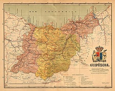San Sebastian Map Of Spain.Gipuzkoa Guipuzcoa San Sebastian Euskadi Mapa Antiguo Provincia