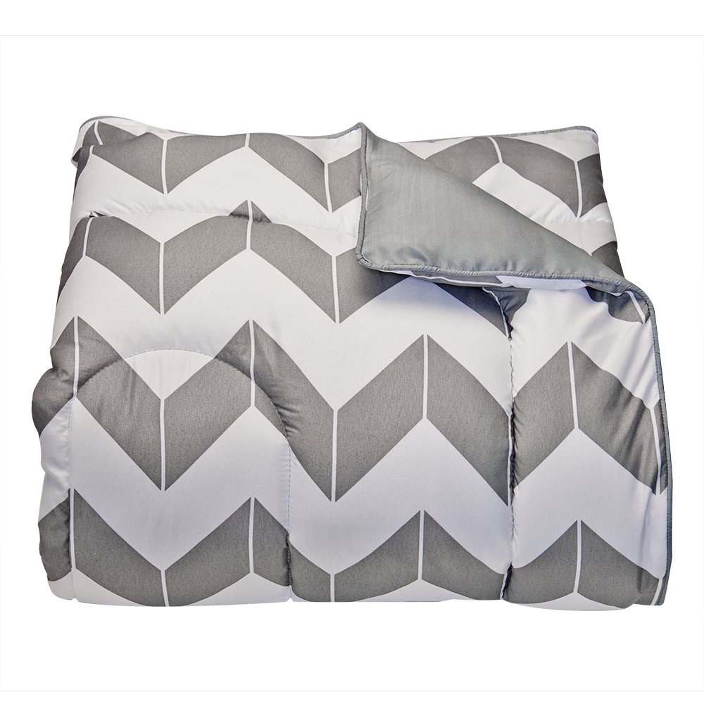 Campus Linens Gray Chevron Twin XL Comforter for College Dorm Bedding