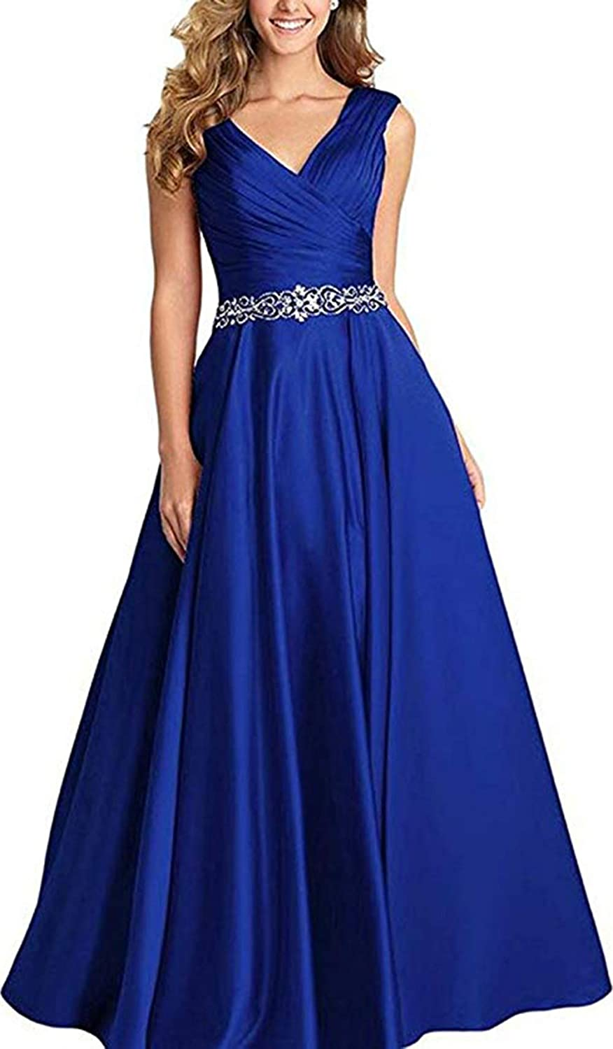 Royal bluee Ri Yun Women's V Neck Pleated Beaded Prom Dresses Long 2019 Satin Aline Formal Evening Ball Gowns with Pockets