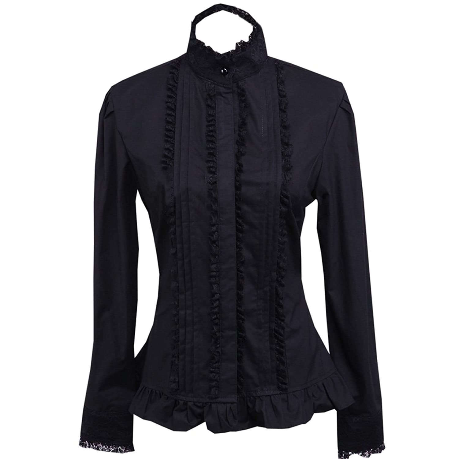 Victorian Blouses, Tops, Shirts, Vests Partiss Womens Black Pintucks Lolita Blouse $29.99 AT vintagedancer.com