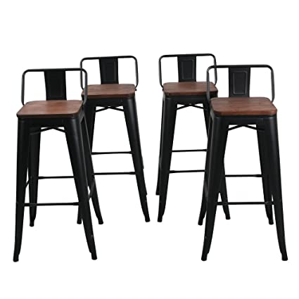 Changjie Furniture Low Back Metal Bar Stool For Indoor Outdoor Kitchen Counter Bar Stools Set Of 4 30 Inch Low Back Black With Wooden Top