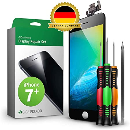 GIGA Fixxoo compatible with iPhone 7 Plus Screen Replacement Complete Kit Black LCD; with TouchScreen, Retina Display Glass, Camera & Proximity Sensor
