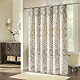 Fabric Shower Curtain, Ufriday Shower Curtain for Bathroom Mildew-Resistant Pattern Roman Style Floral with Lead Weight Water Proof Polyester Artistic Decor, Taupe Gold and Beige, 72-inch by 72-inch
