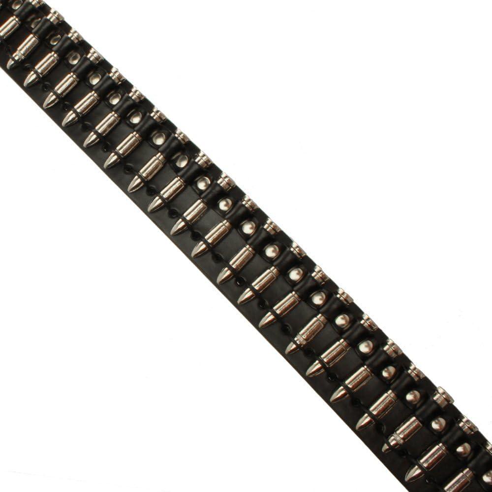 Accesoryo Cintur/ón negro dise/ño balas de plata