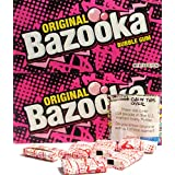 Original Bazooka Bubble Gum Party Box Individually Wrapped Pieces with New Comics Games and Activities 4.0 Oz (2 Pack)